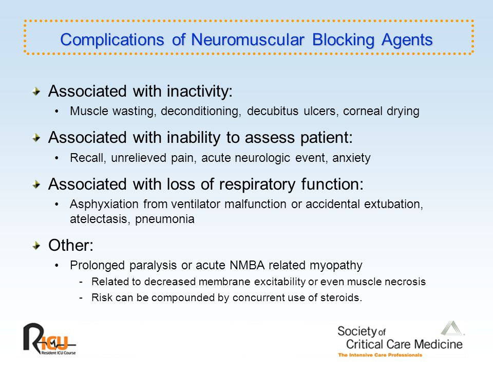 Complications of Neuromuscular Blocking Agents