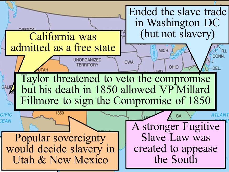 Ended the slave trade in Washington DC (but not slavery)