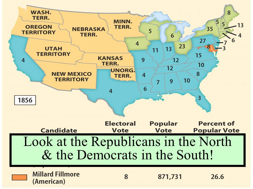 Look at the Republicans in the North & the Democrats in the South!