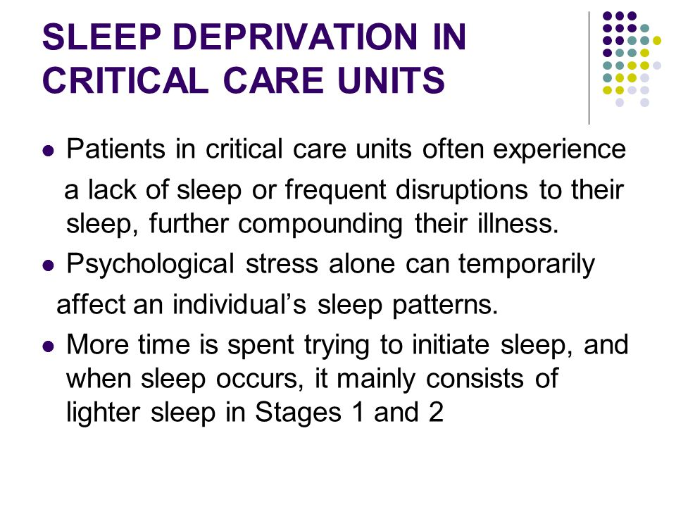 SLEEP DEPRIVATION IN CRITICAL CARE UNITS