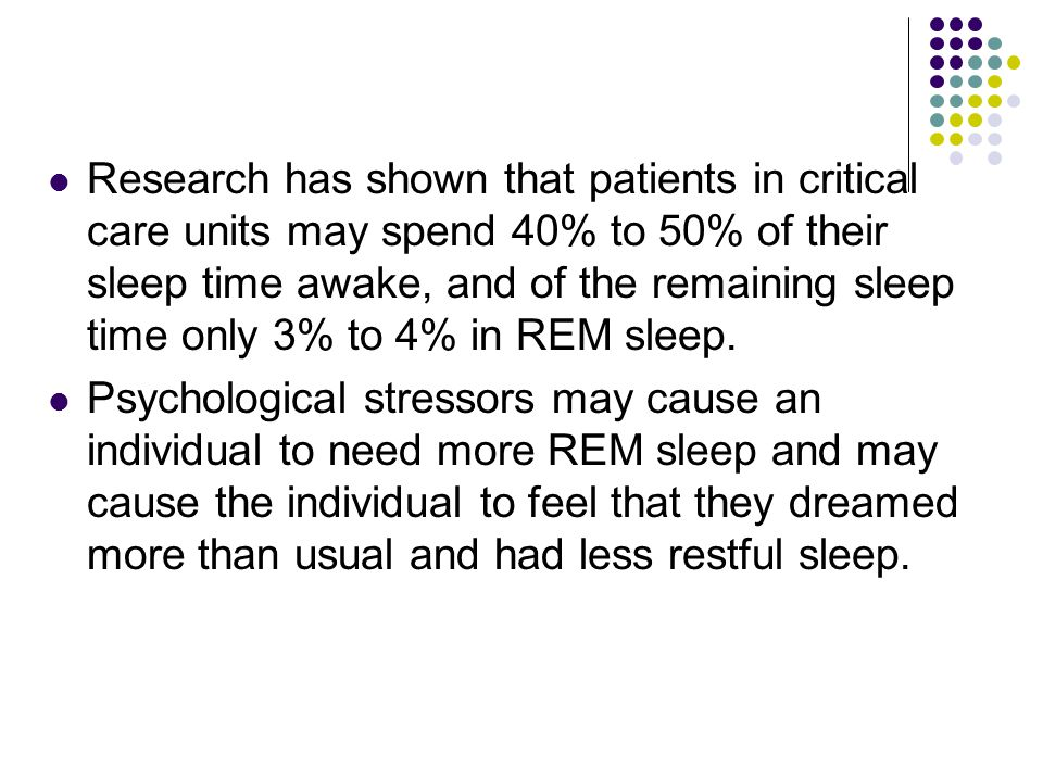 Research has shown that patients in critical care units may spend 40% to 50% of their sleep time awake, and of the remaining sleep time only 3% to 4% in REM sleep.
