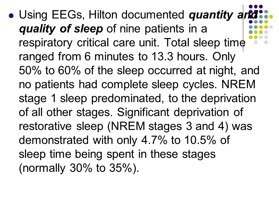 Using EEGs, Hilton documented quantity and quality of sleep of nine patients in a respiratory critical care unit.