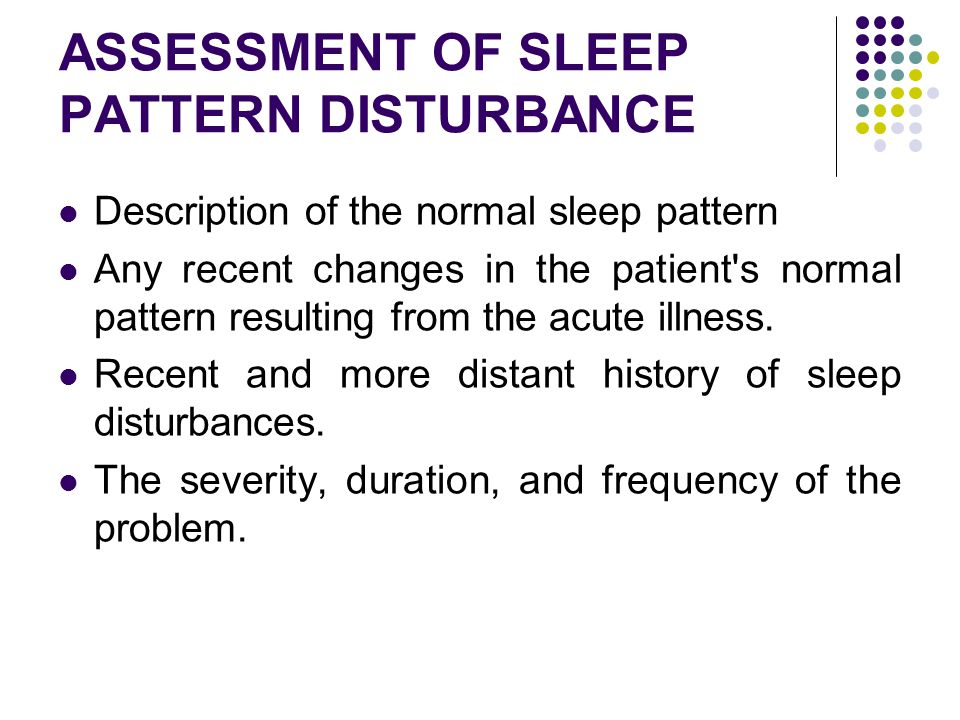 ASSESSMENT OF SLEEP PATTERN DISTURBANCE