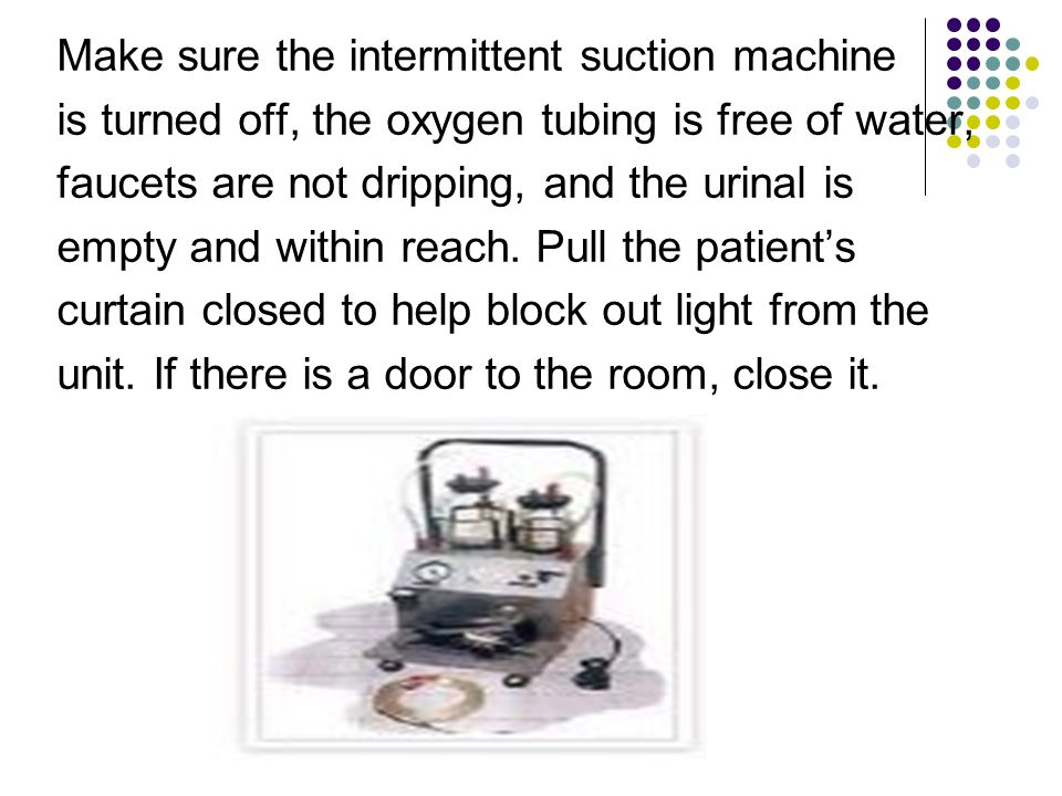 Make sure the intermittent suction machine