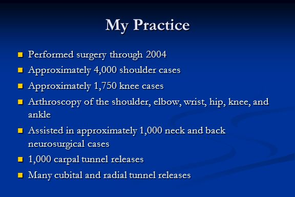 My Practice Performed surgery through 2004