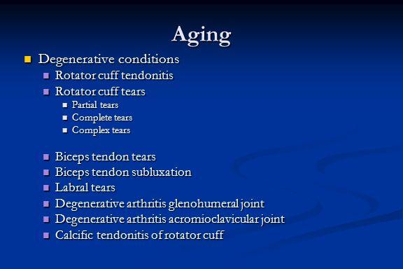 Aging Degenerative conditions Rotator cuff tendonitis