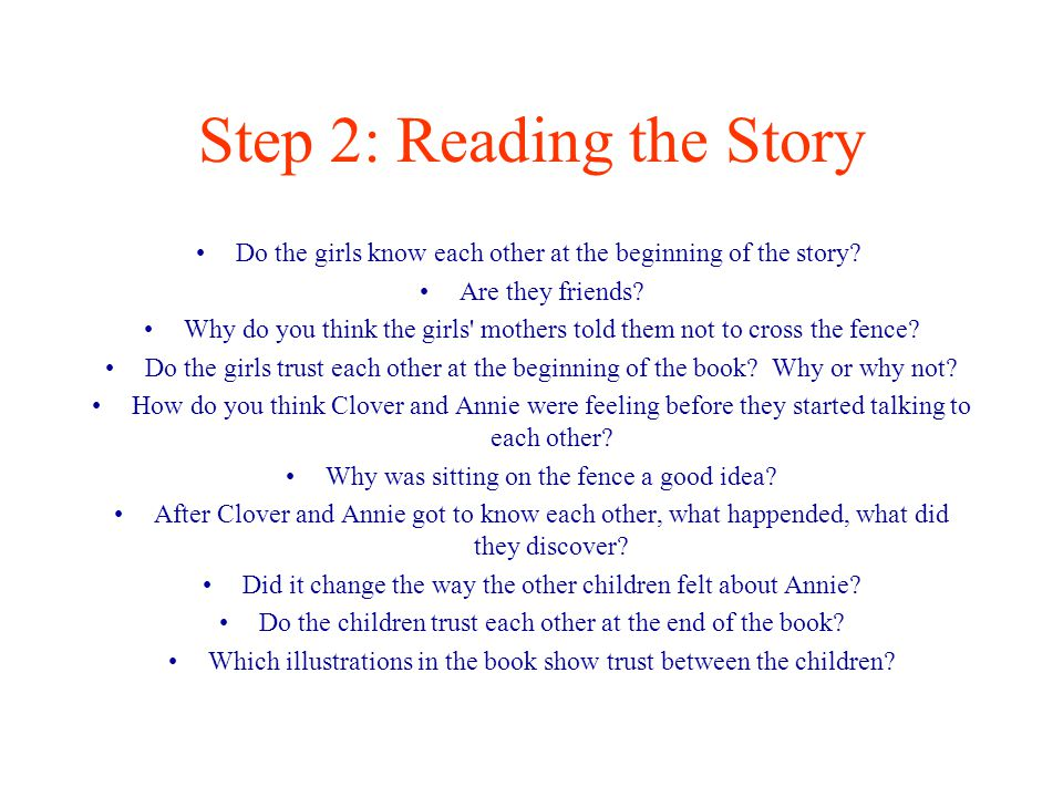 Step 2: Reading the Story