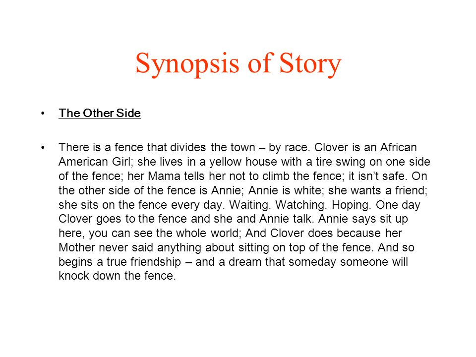 Synopsis of Story The Other Side
