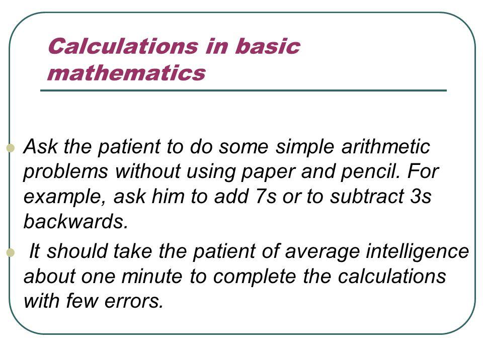 Calculations in basic mathematics