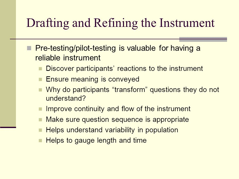 Drafting and Refining the Instrument