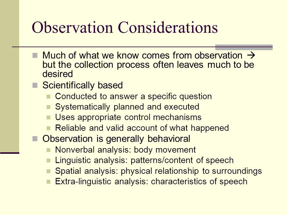 Observation Considerations