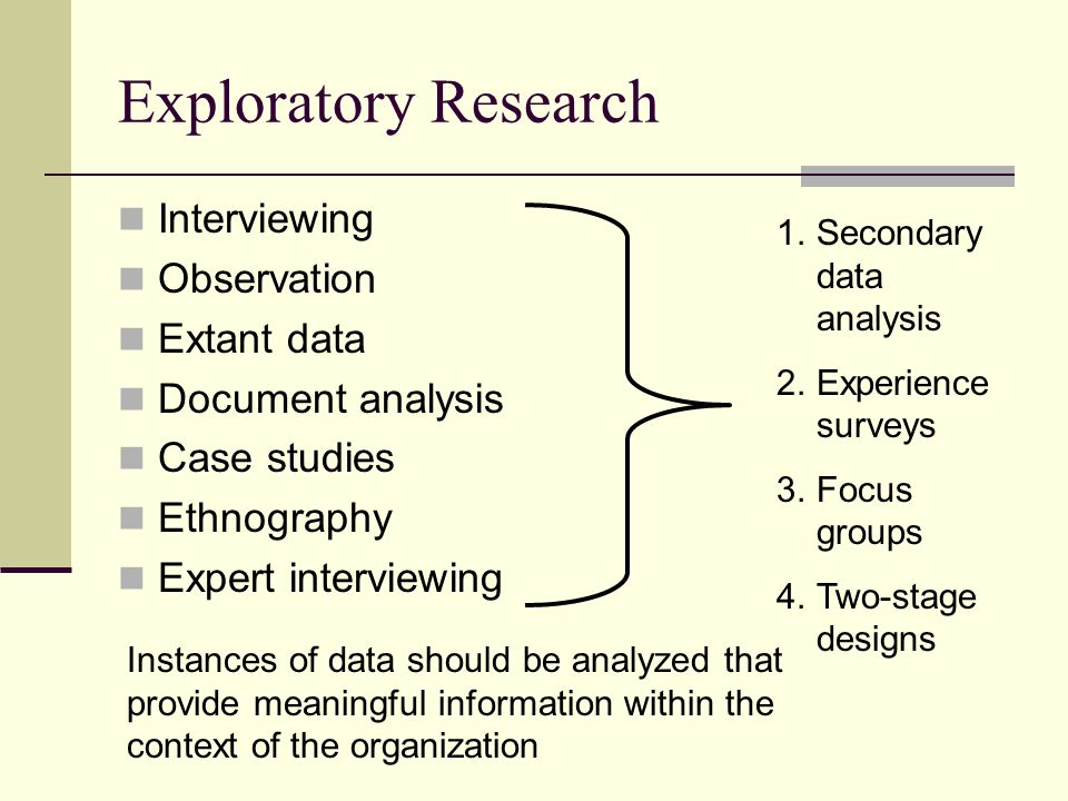 Exploratory Research Interviewing Observation Extant data