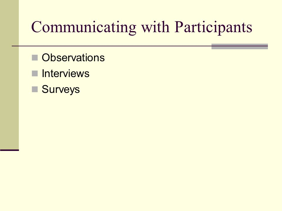 Communicating with Participants