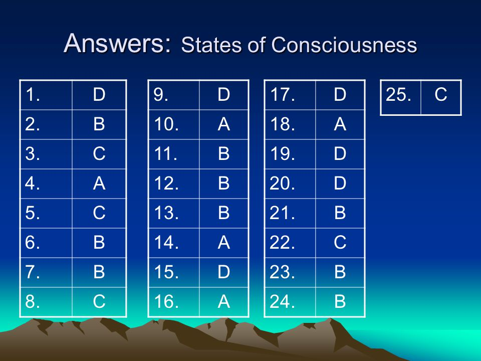 Answers: States of Consciousness