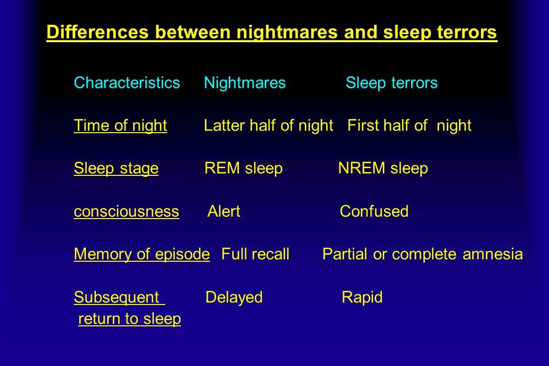 Differences between nightmares and sleep terrors