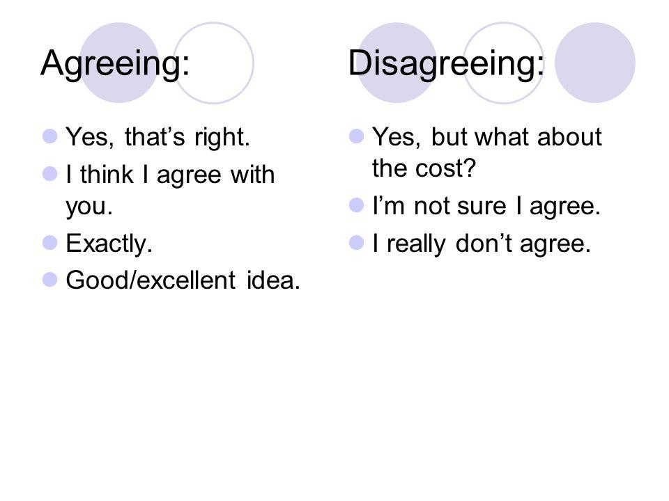 Agreeing: Disagreeing: