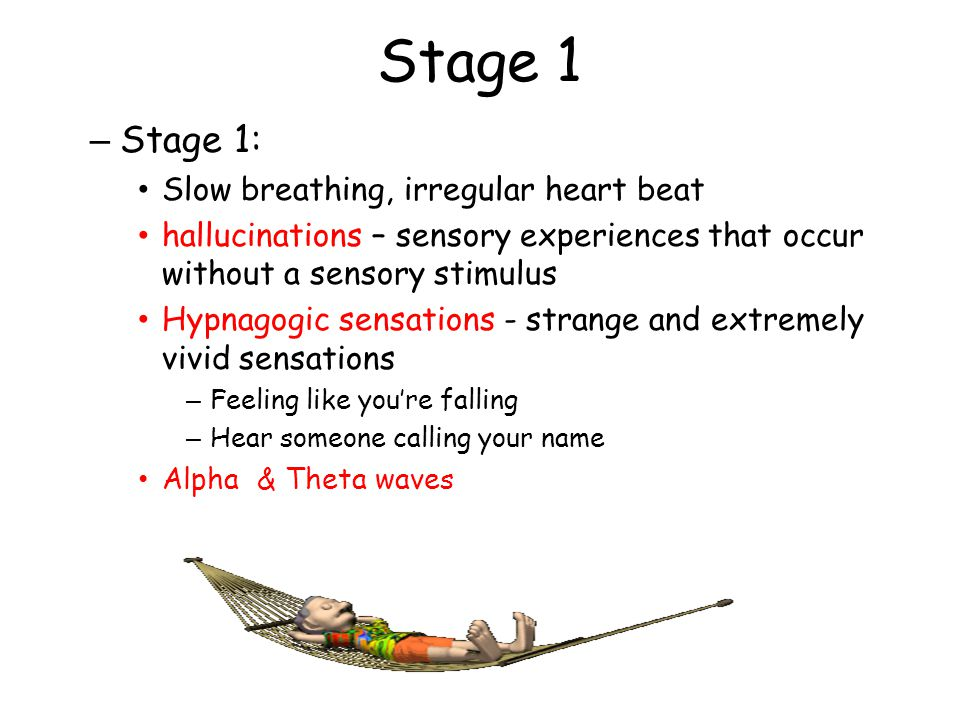 Stage 1 Stage 1: Slow breathing, irregular heart beat