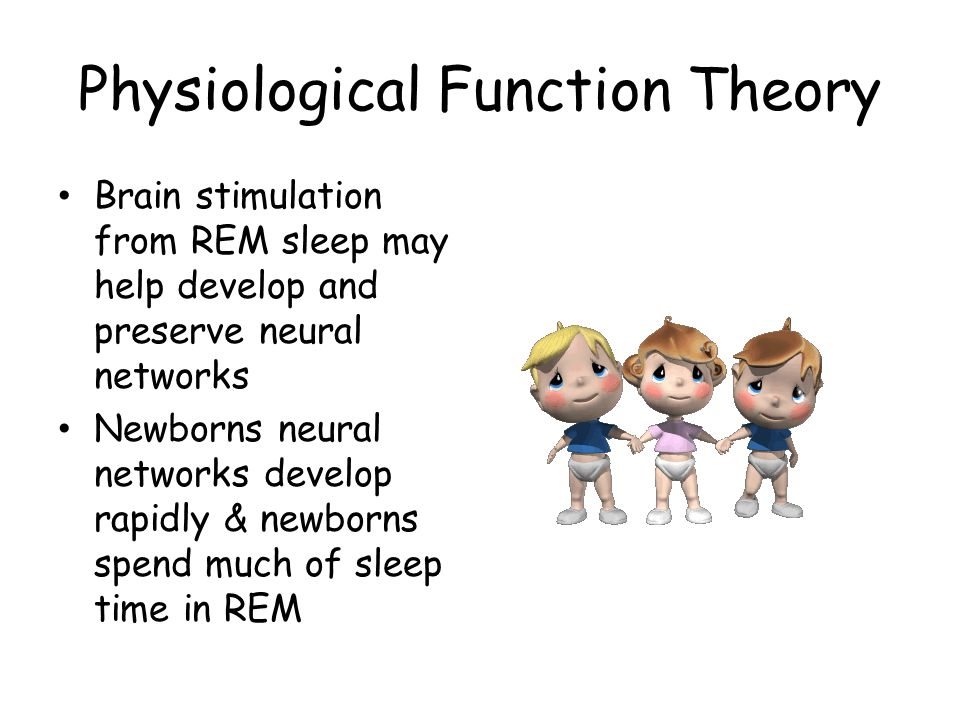 theories attempting to explain the origins and functions of rem sleep One of the major theories to explain why we sleep is that sleep allows us to consolidate and process all of the information that we have collected during the previous day some dream experts suggest that dreaming is simply a by-product or even an active part of this information-processing.