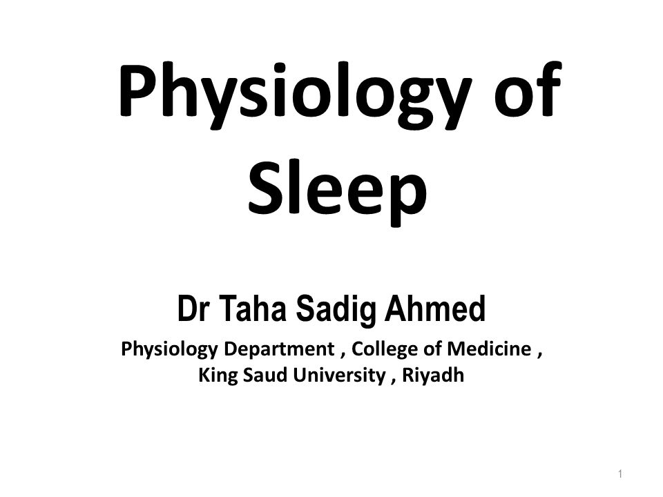 Physiology of Sleep Dr Taha Sadig Ahmed