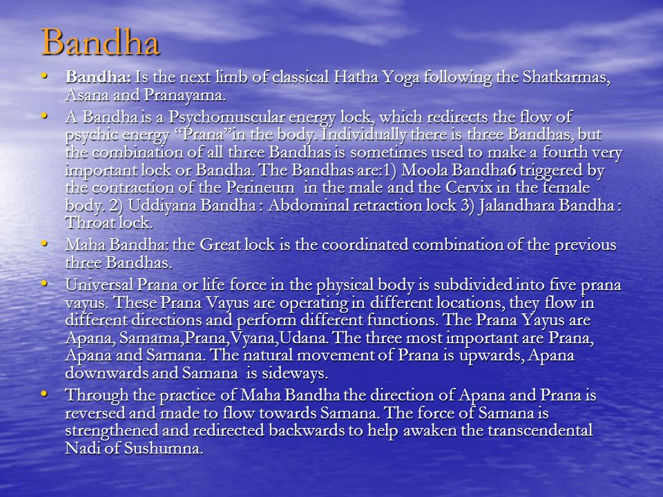 Bandha Bandha: Is the next limb of classical Hatha Yoga following the Shatkarmas, Asana and Pranayama.
