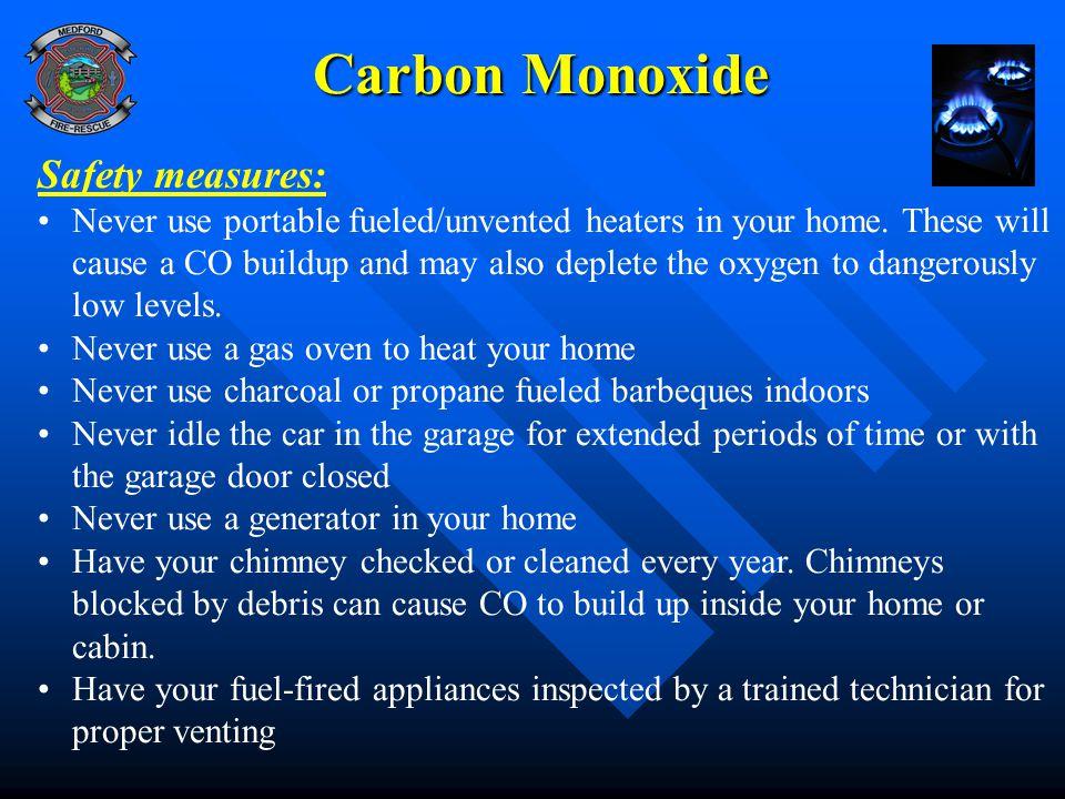 Carbon Monoxide Safety measures: