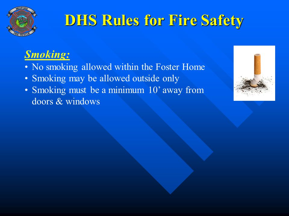 DHS Rules for Fire Safety