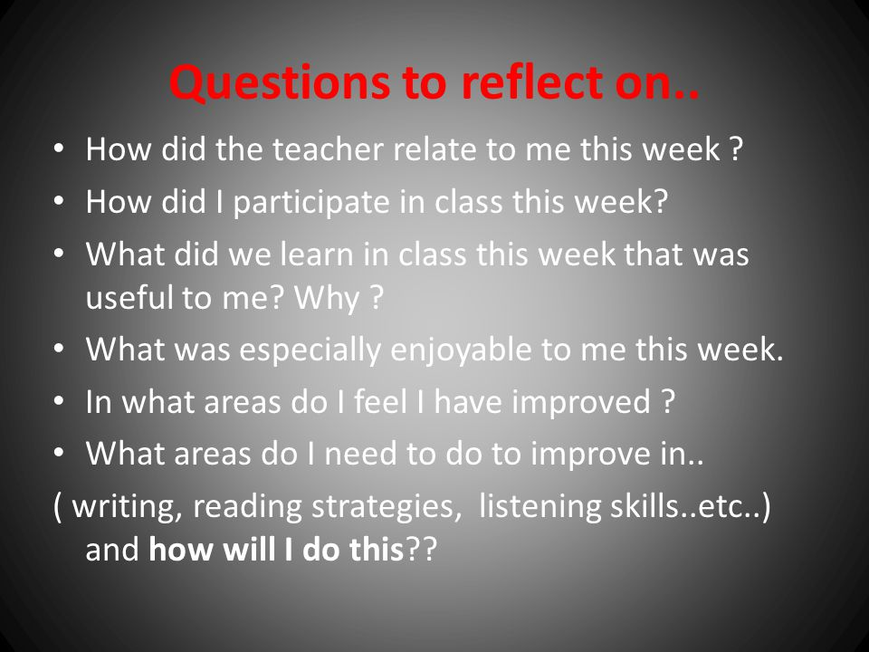 Questions to reflect on..