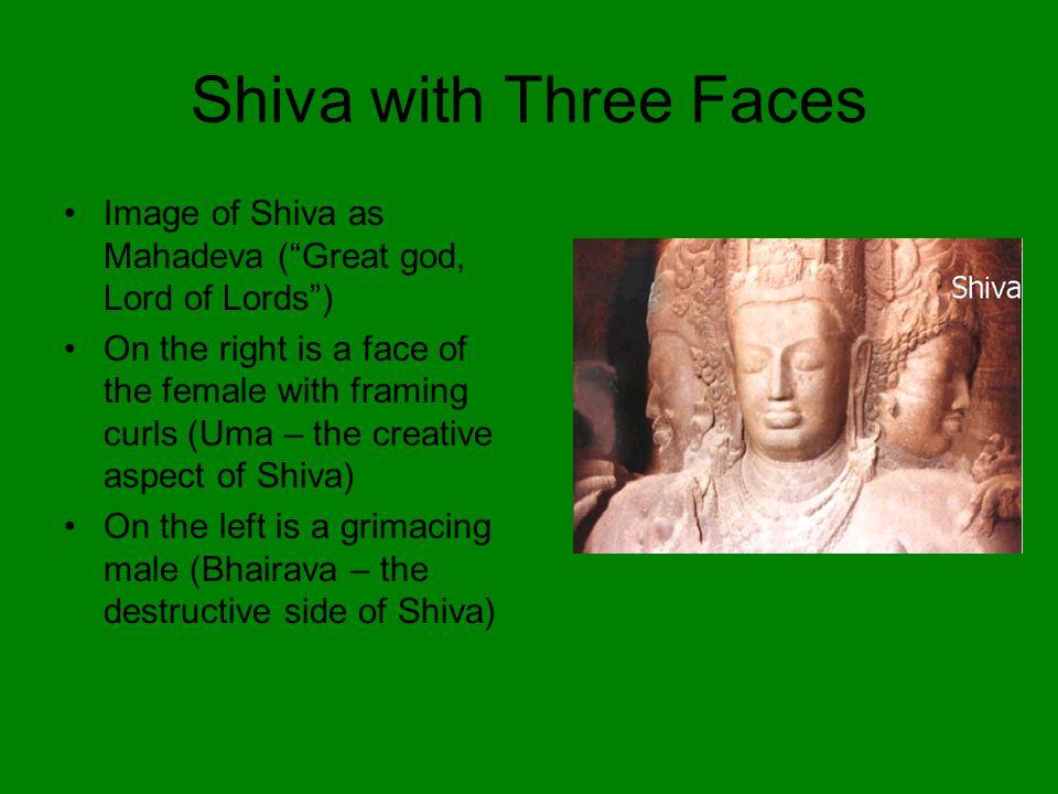 Shiva with Three Faces Image of Shiva as Mahadeva ( Great god, Lord of Lords )