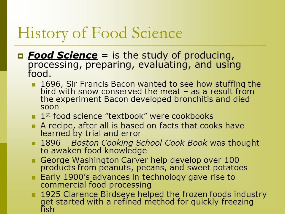 History of Food Science