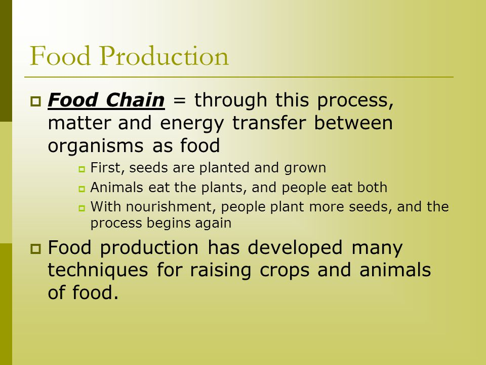 Food Production Food Chain = through this process, matter and energy transfer between organisms as food.