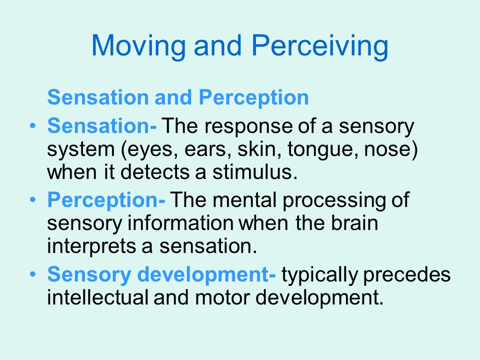 Moving and Perceiving Sensation and Perception