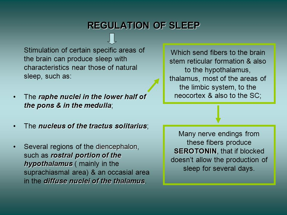 REGULATION OF SLEEP Stimulation of certain specific areas of the brain can produce sleep with characteristics near those of natural sleep, such as: