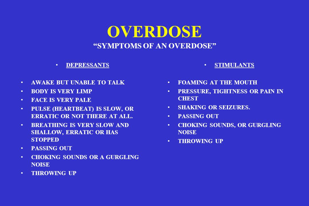 OVERDOSE SYMPTOMS OF AN OVERDOSE