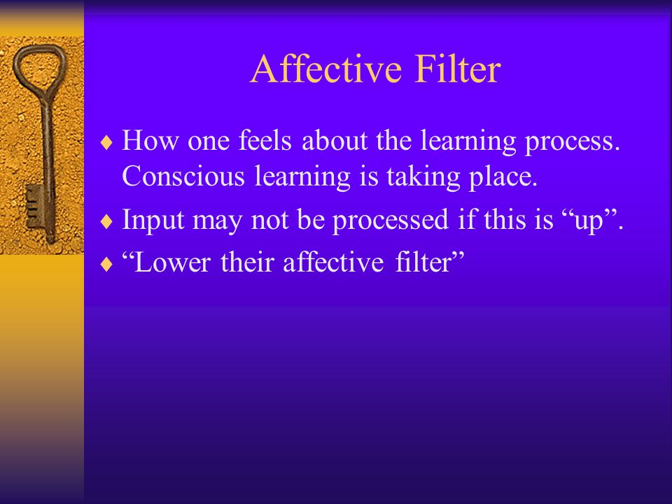 Affective Filter How one feels about the learning process. Conscious learning is taking place. Input may not be processed if this is up .