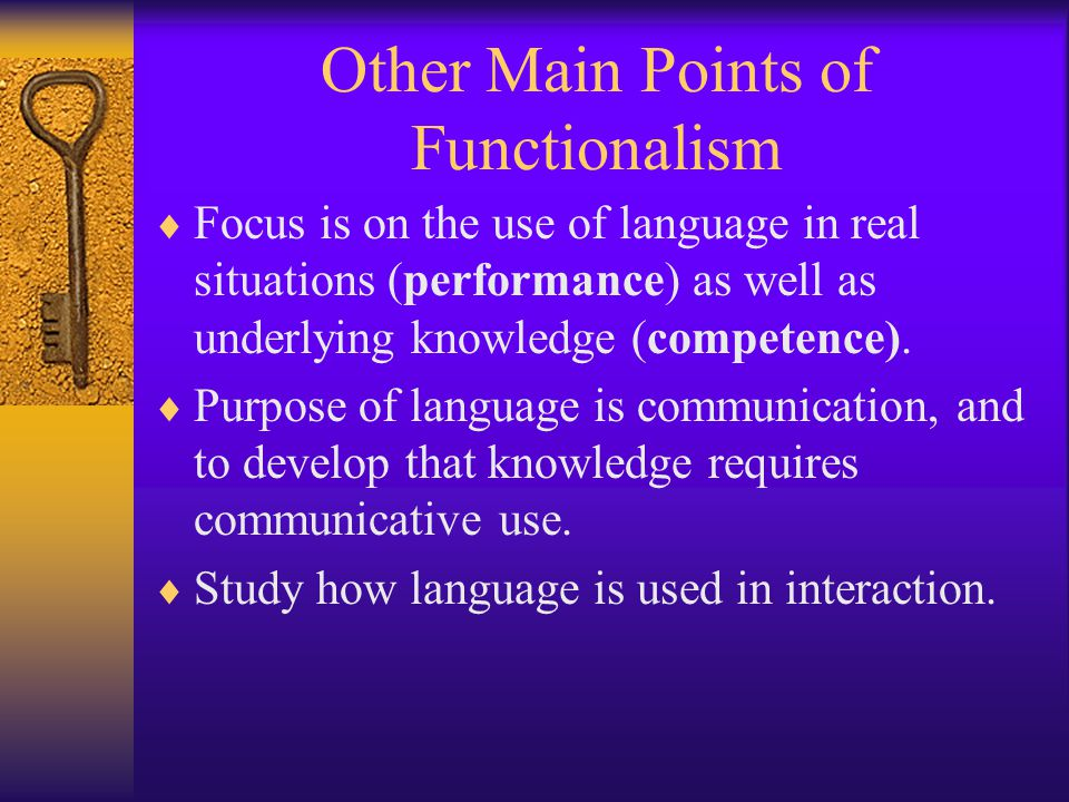 Other Main Points of Functionalism