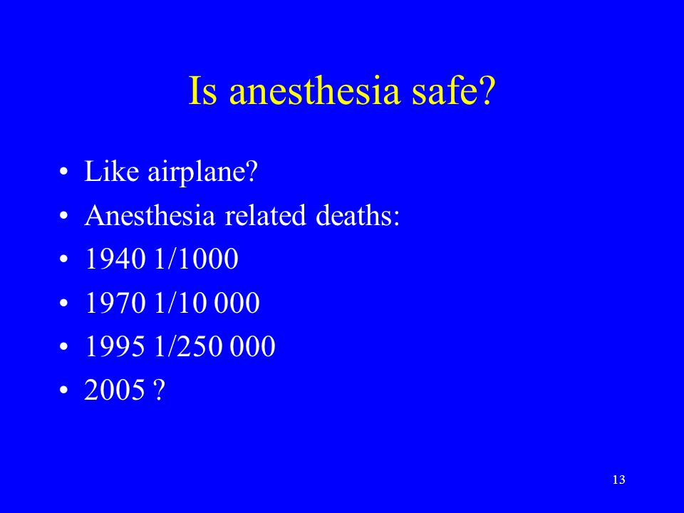 Is anesthesia safe Like airplane Anesthesia related deaths: