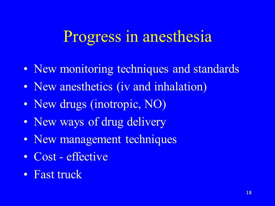 Progress in anesthesia
