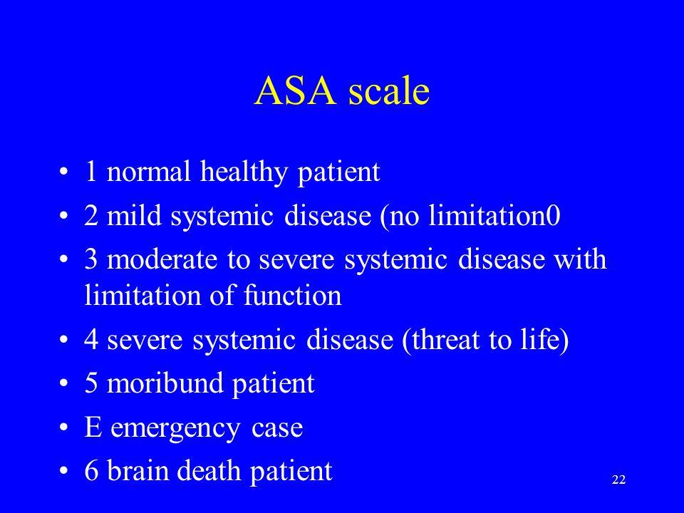 ASA scale 1 normal healthy patient