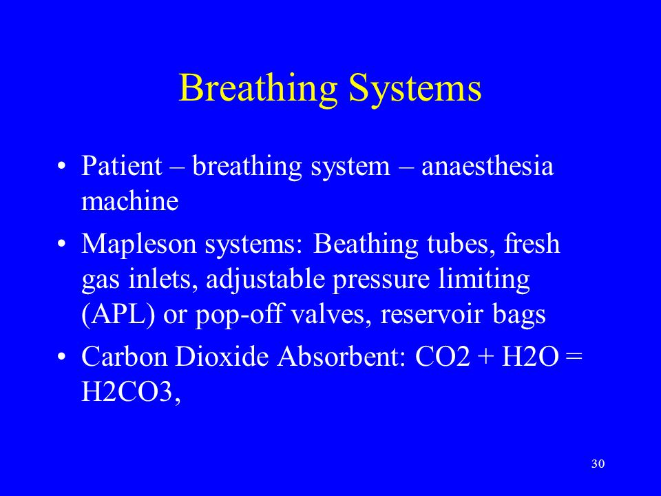 Breathing Systems Patient – breathing system – anaesthesia machine
