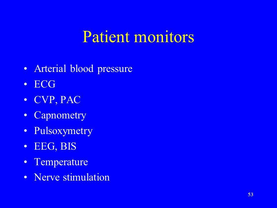 Patient monitors Arterial blood pressure ECG CVP, PAC Capnometry