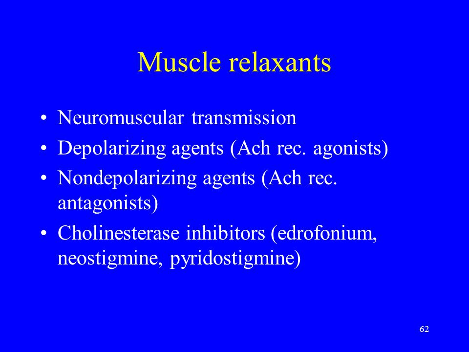 Muscle relaxants Neuromuscular transmission