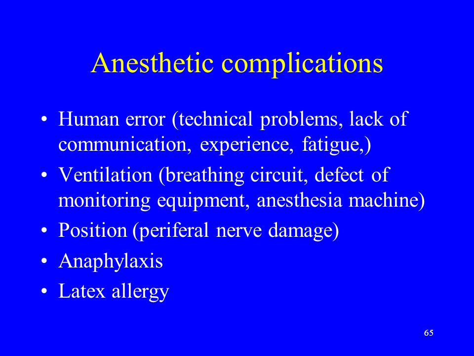 Anesthetic complications