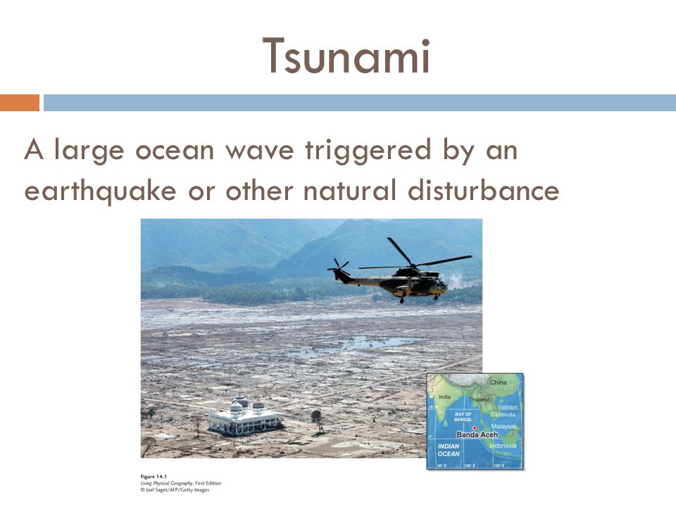 Tsunami A large ocean wave triggered by an earthquake or other natural disturbance.