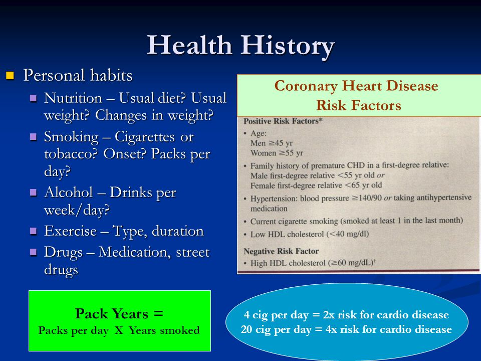 Health History Personal habits