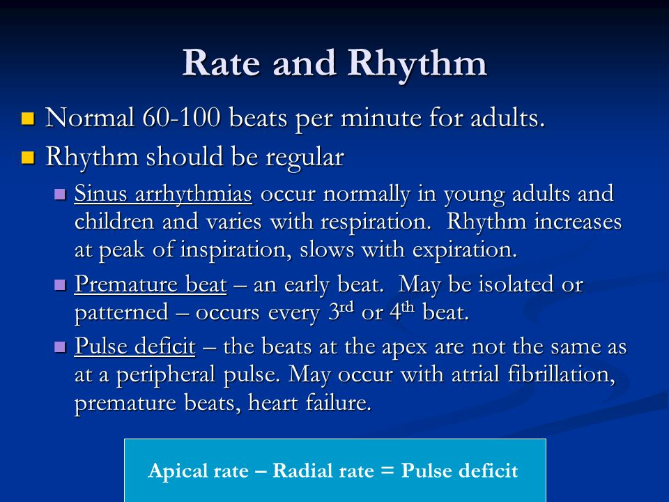 Apical rate – Radial rate = Pulse deficit