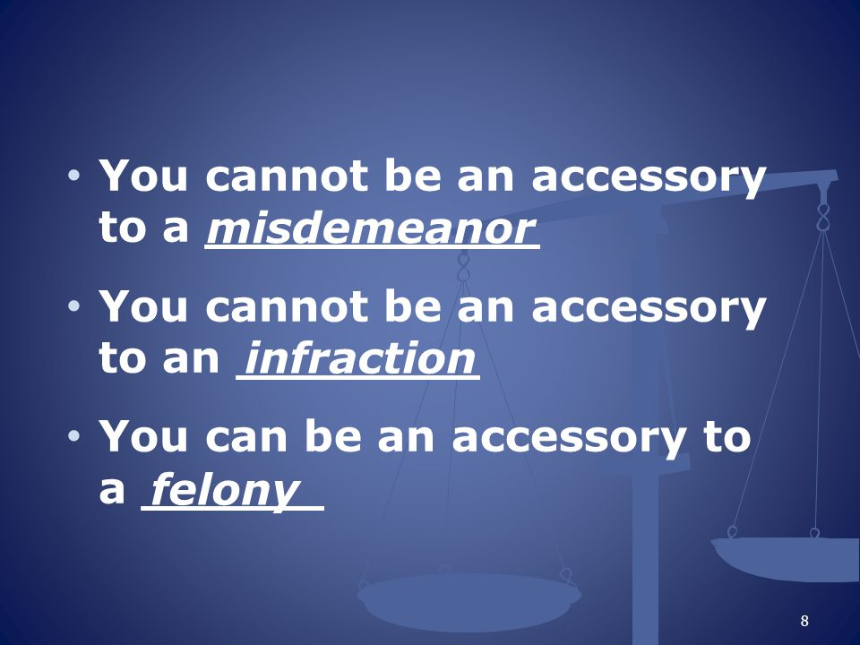 You cannot be an accessory to a ___________