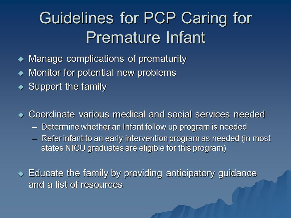 Guidelines for PCP Caring for Premature Infant