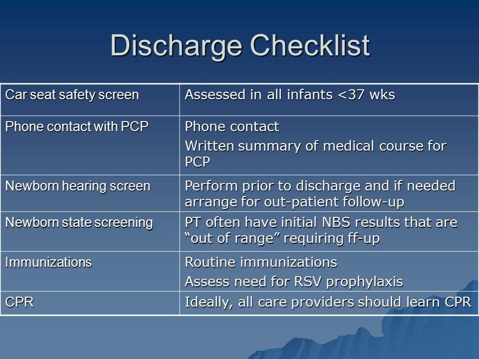 Discharge Checklist Car seat safety screen