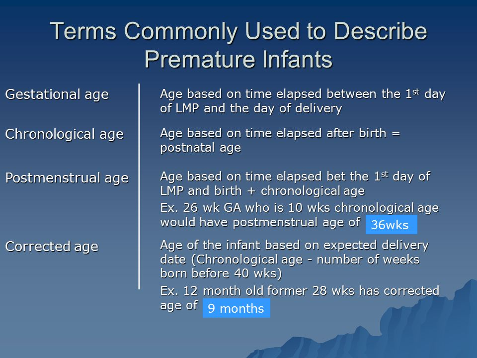Terms Commonly Used to Describe Premature Infants