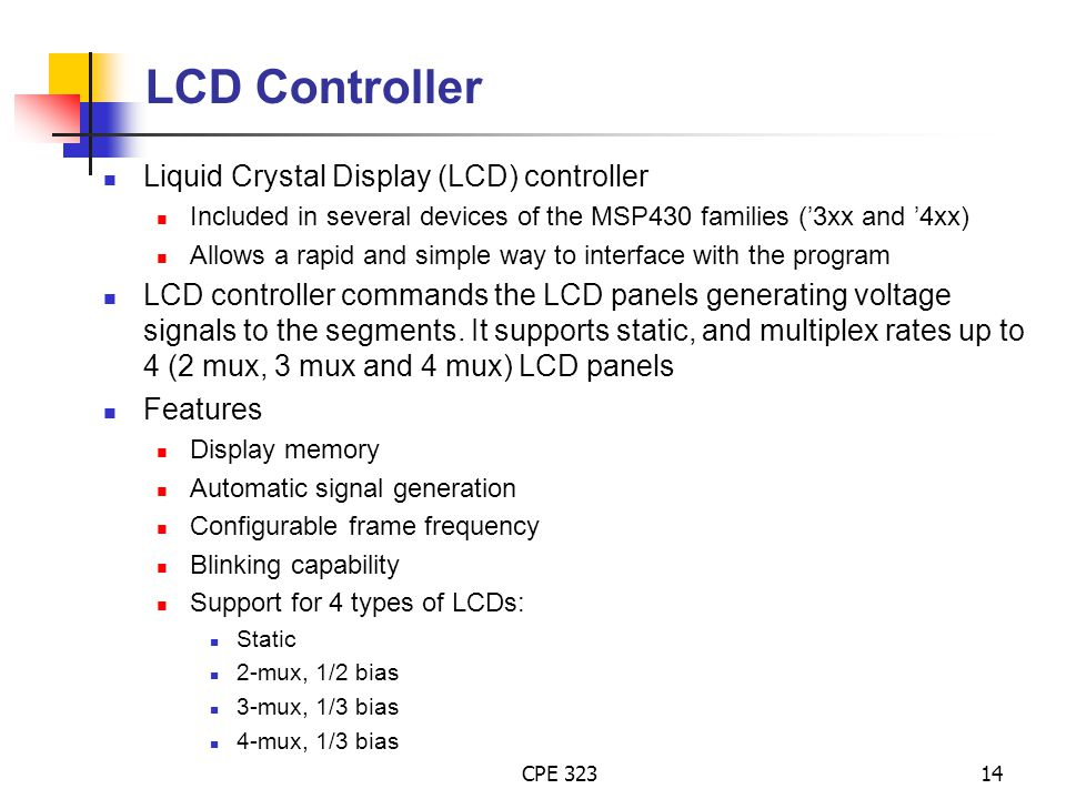 LCD Controller Liquid Crystal Display (LCD) controller